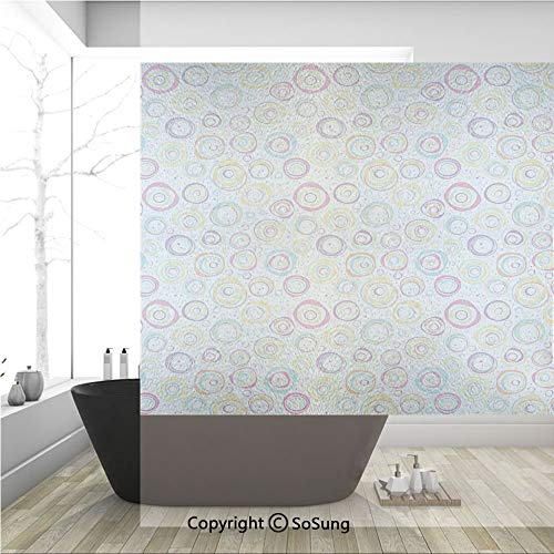 - 3D Decorative Privacy Window Films,Pattern with Circles and Dots Bubble Rings Spotted Springtime Enjoyment Decorative,No-Glue Self Static Cling Glass film for Home Bedroom Bathroom Kitchen Office 36x3