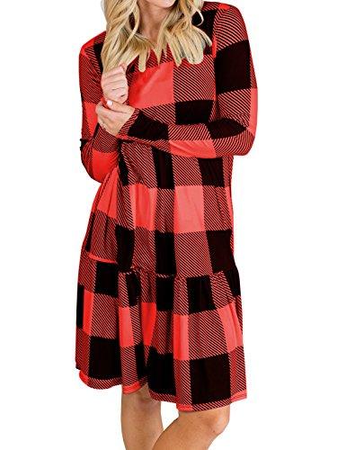 Remikstyt Womens Plaid Ruffle Hem Long Sleeve Casual Loose Flowy Round Neck Dress