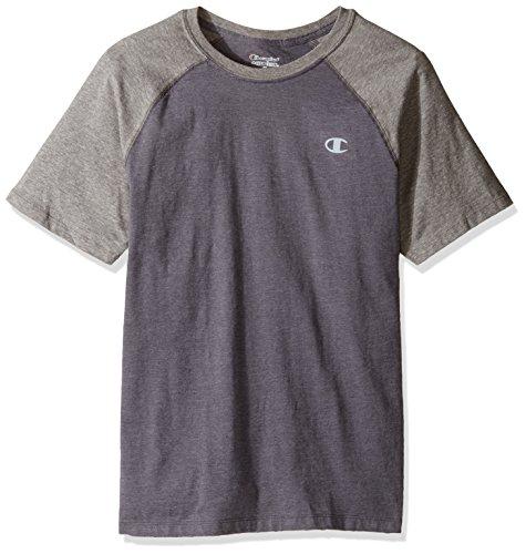 Champion Men's Vapor Cotton Short Sleeve Raglan T-Shirt, Oxford Gray/Granite Heather, S T8822