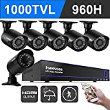 ISEEUSEE 8 Channel 960H DVR Home Video Surveillance System With HDMI Ouput 6pcs 960P Weatherproof Night Vision Outdoor Security Cameras With No HDD
