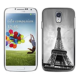 Slim Protector Shell Hard Case Cover for Samsung Galaxy S4 I9500 Architecture B&W Eiffel Tower From Below / STRONG