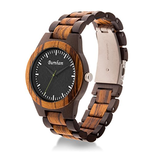(Burnham Watches BURNHAM AG-2021 | Mens Wooden Watch Ebony Wood & Zebrawood With Rare, Upgraded Swiss Movement And Calendar Handcrafted With Solid Wood)