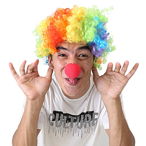 LOVEINUSA Clown Wig and Foam Clown Nose