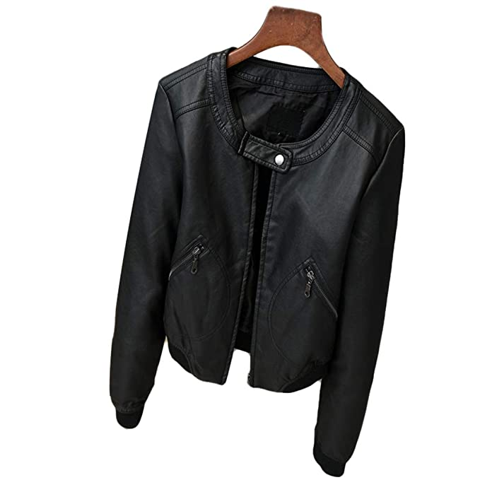Amazon.com: Winter Fashion - Chaqueta de cuero sintético con ...