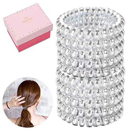 Spiral Hair Ties No Crease, 10Pcs Large Elastic Ponytail Holders Phone Cord (Silver)