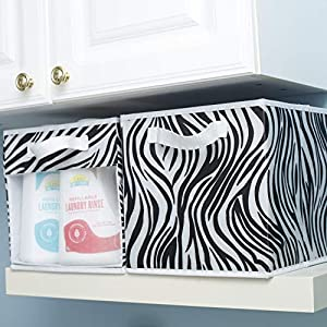 EASYVIEW Storage Basket Cube Bins with Clear View Mesh Side, 2-Handles All Woven Oxford Nylon Bin, Foldable, Zebra Pattern