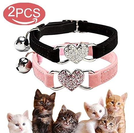 Collar de Gato con Campana y Colgante de Corazón de Cristal Brillante