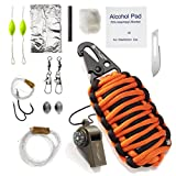 hiker whistle - X-Plore Gear Paracord Grenade Survival Kit (15 Tools) | Portable Emergency Preparedness Kit for Outdoor Adventures, Natural Disasters, Earthquakes | 550 paracord, Knife, Whistle, Compass (Orange)