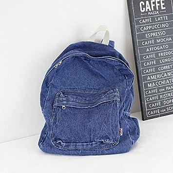 71d5bd9e175 KEROUSIDEN Mochila de Jeans Retro Art Institute Viento Mochila de Lona  Color Puro Simple par de