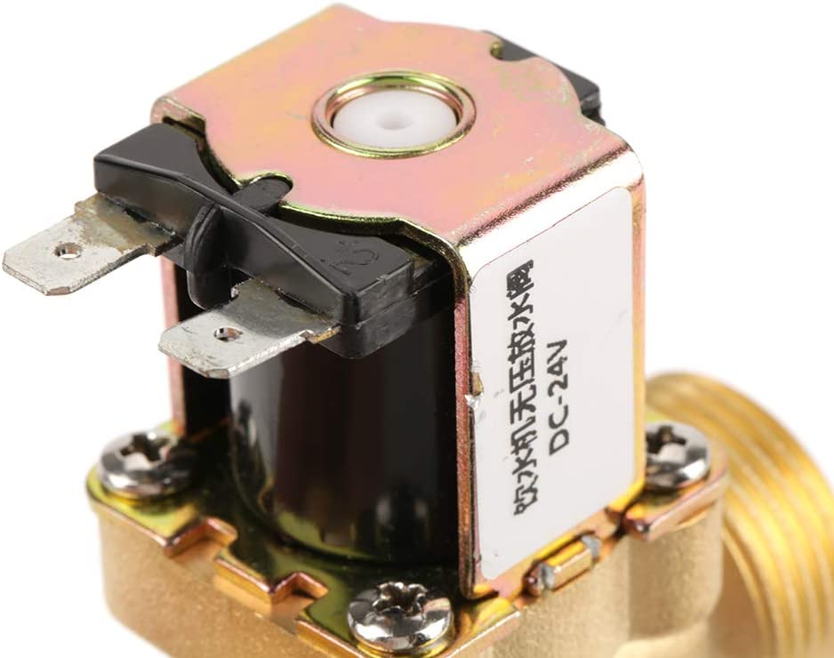 Yosooo N//C Electric Solenoid Valve 24V Electric Solenoid Valve 2 Way Pressure Regulating Valve Suitable for Drinking Fountains Water Heaters Water Purification Machines