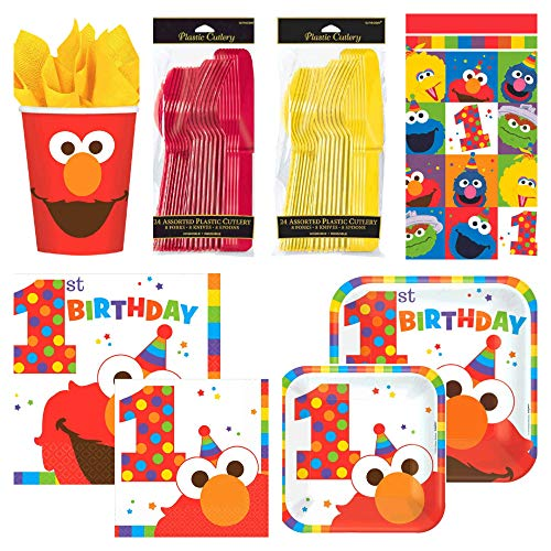 Sesame Street Elmo First Birthday Party Supplies Bundle 129 Total Pieces