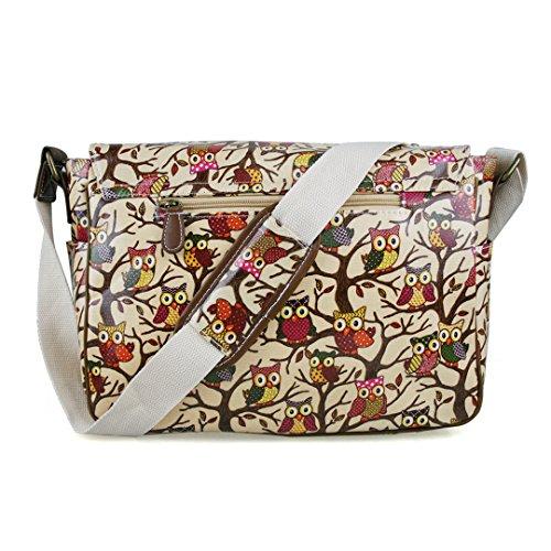 Miss LuLu Wachstuch Tasche Umhängetasche Schultasche mit vielen Drucken in vielen Farben (O-BG) O-BG