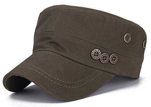 ChezAbbey Fashionable Cadet Style Hat Solid Brim Adjustable Military Radar Cap Peaked Cap with Beads Embroidered