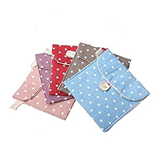 6Pcs Women Cute Polka Dot Cotton Sanitary Napkins Bag Menstrual Cup Pouch Nursing Pad Holder Bag