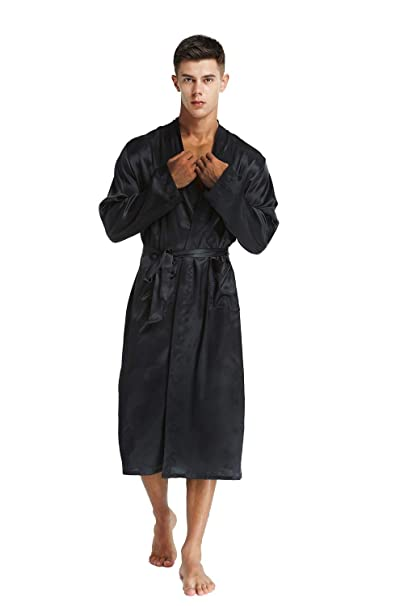 2019 discount sale buy sale durable in use TIMSOPHIA Mens Satin Kimono Dressing Gowns,Silk Spa Bath Robe Pure Color  Satin Sleepwear with Belt