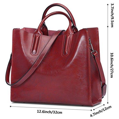 Bag S Crossbody Genuine Wine Leather Shoulder Top Women Handle Satchel ZONE Red zFqrzxwf