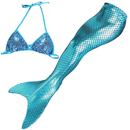 Mermaid Tails for Swimming Adult Womens Bikini Set Swimsuit with Monofin Swimmable Mermaid Party Dress Costumes (Adult-M/Hip 27.17