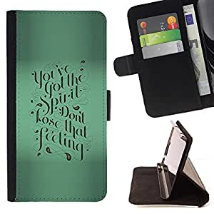Momo Phone Case / Flip Funda de Cuero Case Cover - Verde motivación Caligrafía texto de Blur - Samsung Galaxy E5 E500