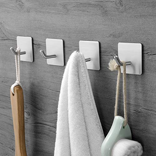 XIGOO Towel Hooks/Adhesive Bathroom Hook - Self Adhesive Hooks Bath Robe Hooks Hanging Keys for Kitchen Stick on Wall Stainless Steel 4 Packs