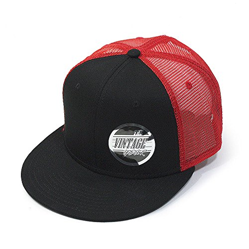 Plain Cotton Twill Flat Brim Mesh Adjustable Snapback Trucker Baseball Cap (Black/Black/Red)