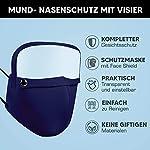 HoWar-Mund-und-Nasenschutz-Maske-aus-Baumwolle-waschbar-inkl-Abtrennbaren-Gesichtsschutz-Visier-Kombi-Maske-und-Visier-Schutzmaske-Face-Shield