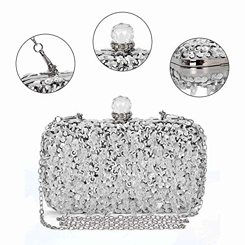 UBORSE Women Wedding Clutch Rhinestone Bling Sequin Evening Bags Vintage Crystal Beaded Cocktail Party Party Purse Silver by UBORSE (Image #1)