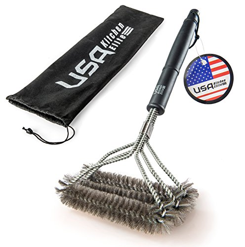 "BBQ Grill Brush By USA Kitchen Elite Barbecue Grill Cleaner - 18""- 3 Stainless Steel Brushes in 1 - Perfect for Char-Broil, Weber, Porcelain and Infrared Grills - Handy Bag"