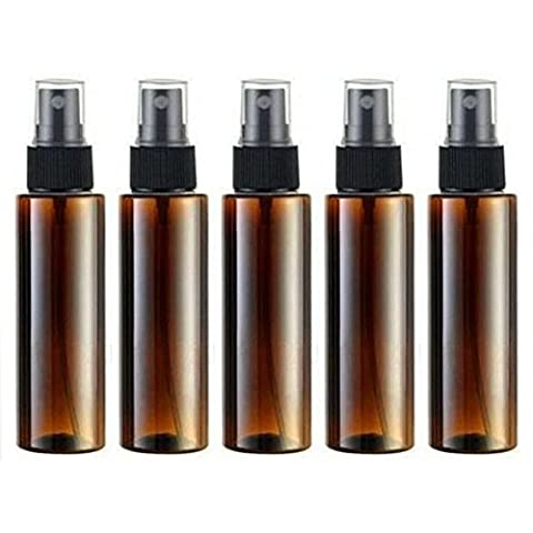 Empty Plastic Spray Bottle 100ML - 5 Piece 3.4oz Fine Mist Sprayer by Auger - Reusable Dark Colored Bottles for Essential Oil, Aromatherapy, Cleaning Products, Travel and Any (Professional Auger)
