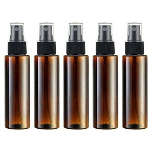 Empty Plastic Spray Bottle 100ML - 5 Piece 3.4oz Fine Mist Sprayer by Auger - Reusable Dark Colored Bottles for Essential Oil, Aromatherapy, Cleaning Products, Travel and Any Purpose