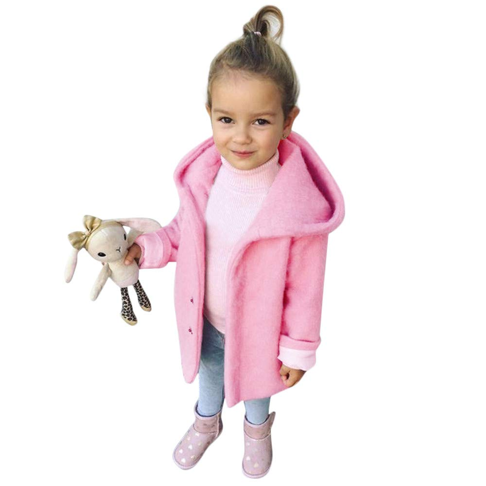 Baby Toddler Girls Winter Solid Hoodie Coat Clothes Cloak Jacket Kids Pink Thick Warm Outerwear 1-6 Years Old