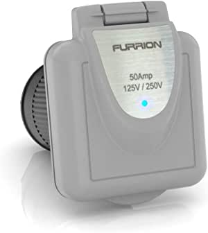 Furrion 50 Amp 125/250 Volt Shore Power Inlet built with Marine Grade quality and Furrion PowerSmart technology - F52INS-GS-AM (Gray)