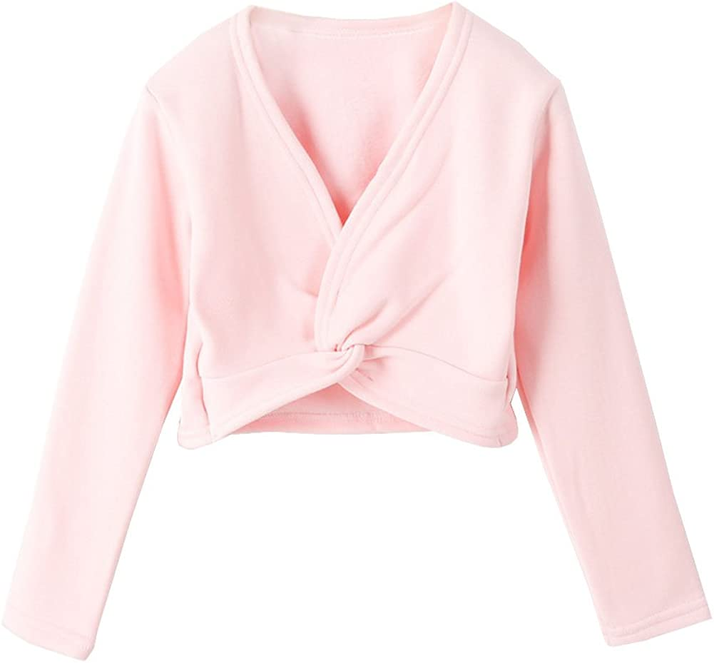 Lisianthus Girls' Classic Thick Ballet Long Sleeve Wrap Top: Clothing