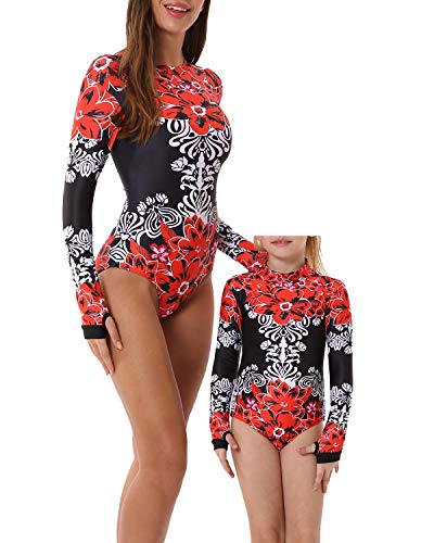 YOLIPULI Mother and Daughter Swimwear Family Matching Swimsuit Womens Rashguard Girls Swimwear Red Floral Print Women XXX-Large