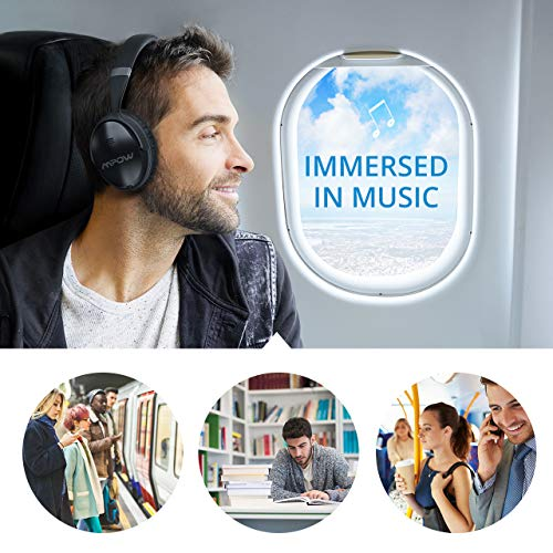 Large Product Image of Mpow H5 Active Noise Cancelling Headphones, ANC Over Ear Wireless Bluetooth Headphones, Dual 40 mm Drivers, Superior Hi-Fi Deep Bass for PC/Cell Phones (18-20Hrs Playtime, Carrying Bag)