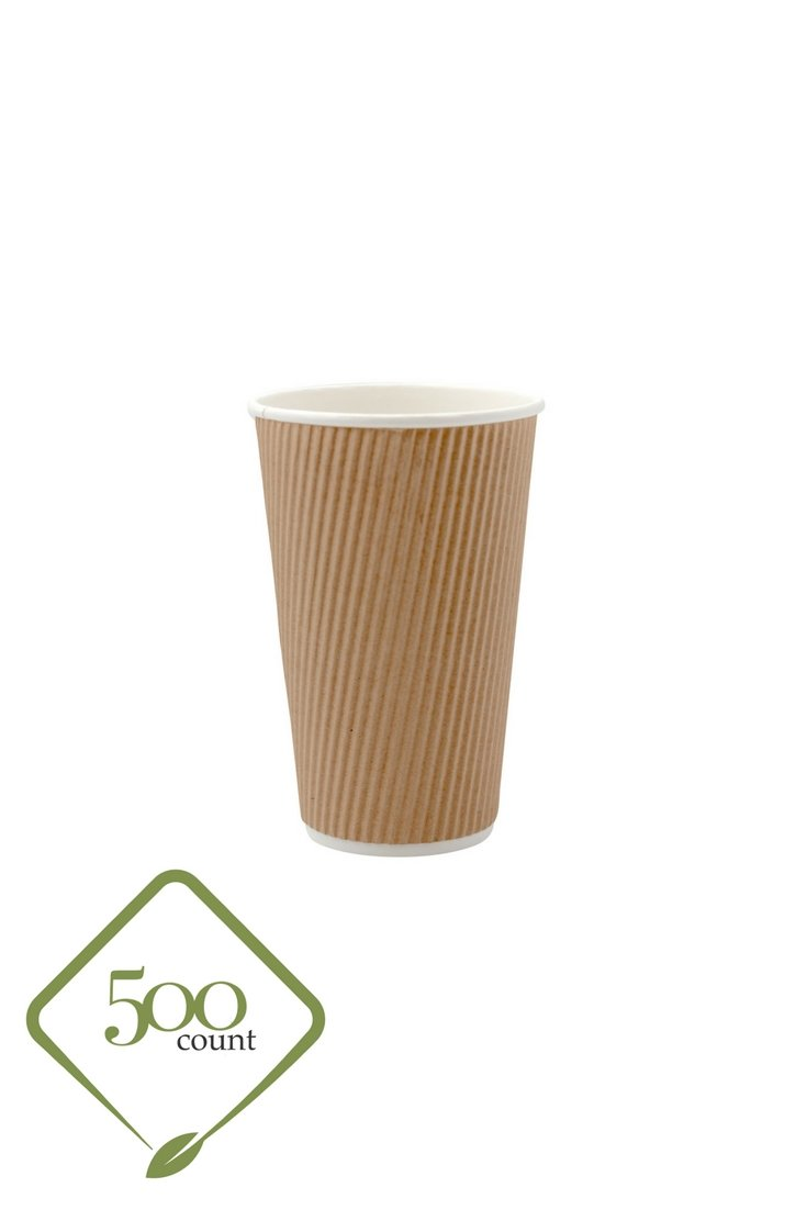 Disposable Double Walled Hot Cups - No Sleeves needed Premium 16 oz Insulated Ripple Wall To Go Hot Coffee Tea Chocolate Drinks Perfect Travel ToGo Paper Cup in Natural Kraft Color (500, 16oz Cups)