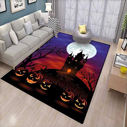 Halloween Girls Bedroom Rug Gothic Haunted House Castle