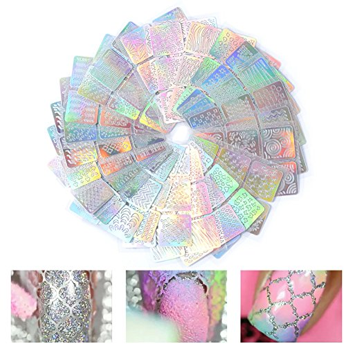 Gracefulvara 24PCS/Set Hollow Holographic Manicure Nail Art DIY Stamping (Halloween Nail Polish Strips)