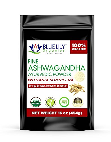 (Ashwagandha Powder(1 lb) - 100% Pure, Raw & Certified Organic Herbal Supplement for Stress & Anxiety Relief - Withania Somnifera - Improves Mood & Energy - Adaptogenic Superfood by Blue Lily Organics)