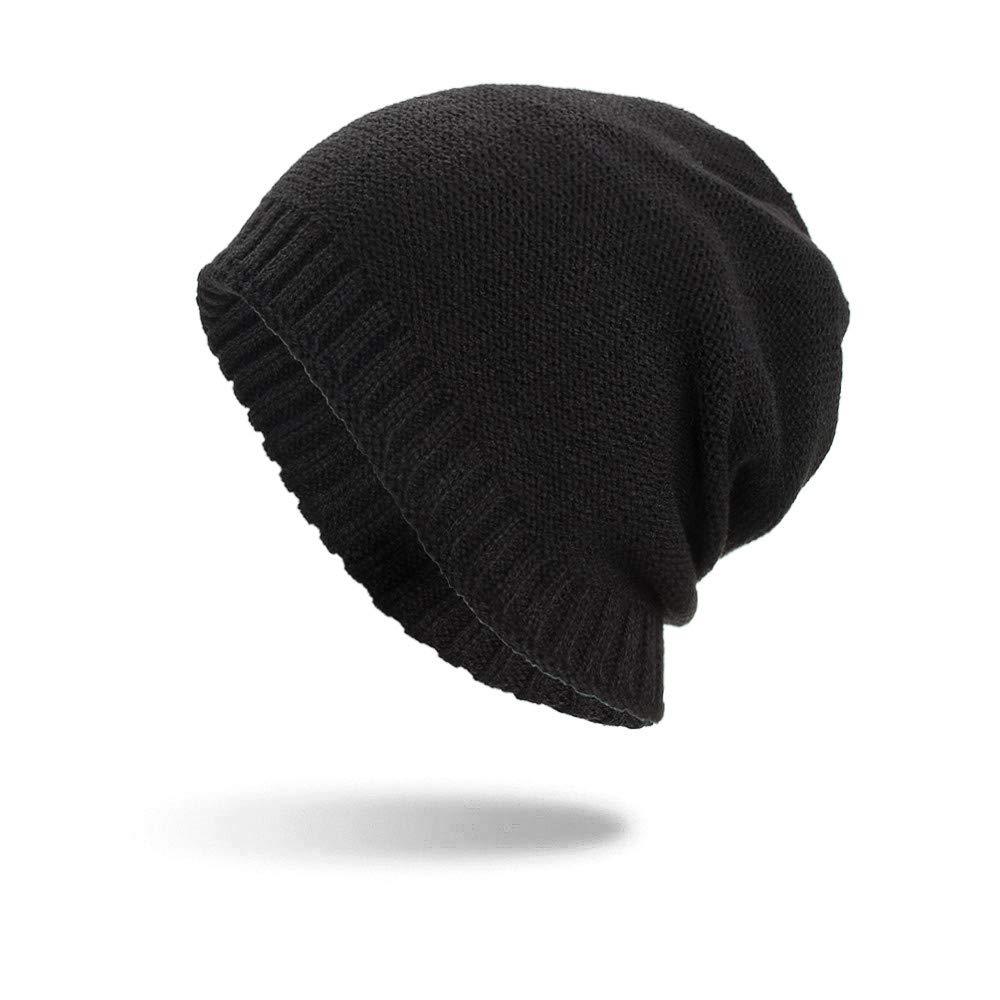 レディース メンズ バギー 編み かぎ針編み トレンディ 冬 オーバーサイズ ニット スキー ゆったりとしたビーニー スカルキャップ  ブラック B07H2JPYL4