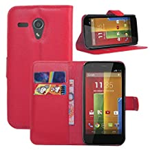 Fettion Motorola Moto G 1st Generation Case, Premium Leather Wallet Case Cover with Stand Card Holder for Motorola Moto G , 2013 Phone (Only Fit 1st Gen) (Wallet - Red)