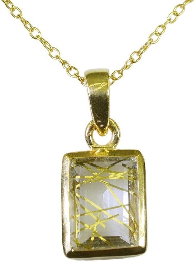 Gemsonclick Rutile - Colgante de cuarzo chapado en oro con gemas sueltas_GOCP026