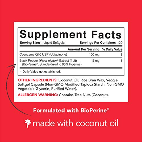 CoQ10 Enhanced with Coconut Oil & Bioperine (Black Pepper) for Better Absorption | Vegan Certified and Non-GMO Verified | 120 Veggie-gels, 4 Month Supply!