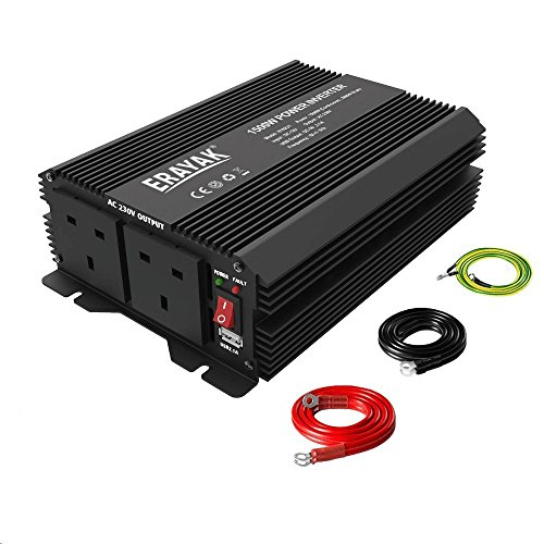 1500W Power Inverter TUV Certified, ERAYAK DC12V to AC 230V/240V Peak 3000W...