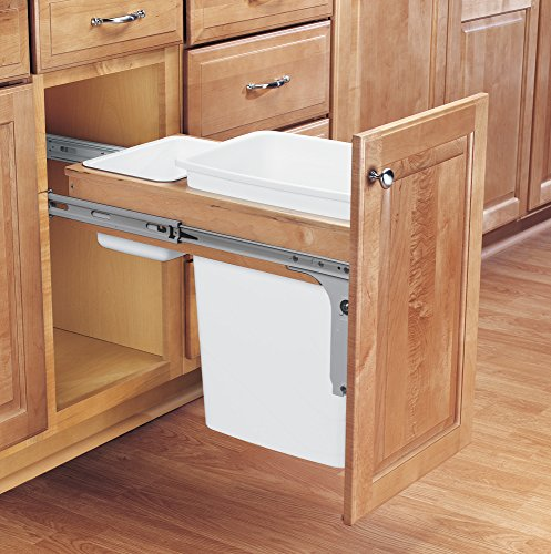 Rev-A-Shelf - 4WCTM-12DM1 - Single 35 Qt. Pull-Out Top Mount Wood and White Waste Container for 1-1/2 in. Face Frame Cabinet