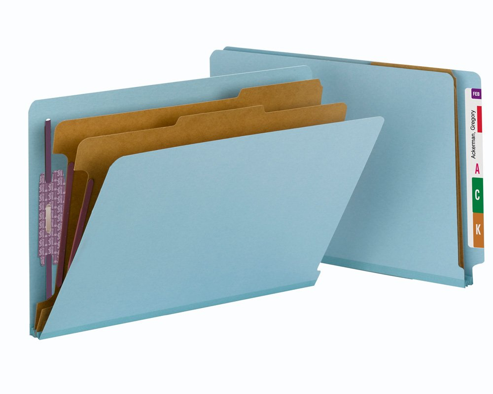 Smead End Tab Classification Folder, Legal, Straight, 2 Dividers, Blue, 10 Per Box (29781)