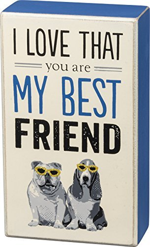 Primitives by Kathy Wood Box Sign Decor - I Love That You Are My Best Friend - Bulldog and Basset Hound Wearing Gold Glitter Sunglasses