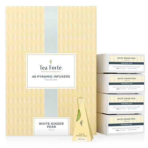 Tea Forté White Ginger Pear EVENT BOX Bulk Pack, 48 Handcrafted White Tea Pyramid Infuser Bags