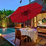PATIOROMA 9 Feet Outdoor Market Umbrella Solar Powered 32 LED Lights with Push Button Tilt and Crank, Red