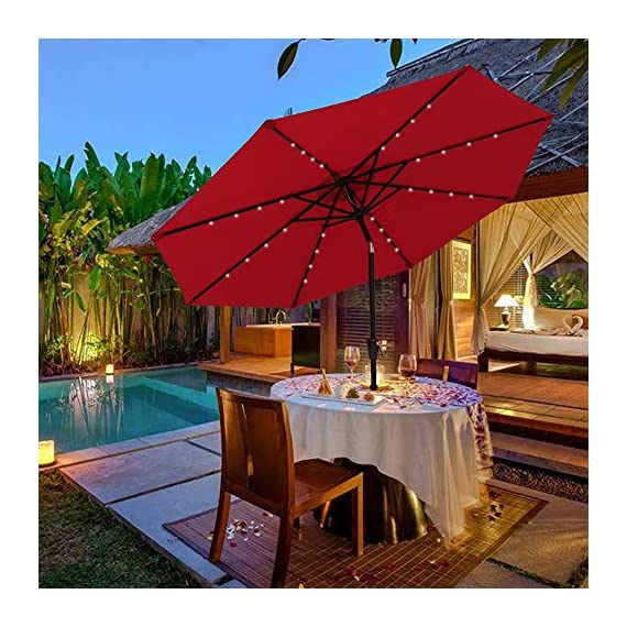 PATIORAMA 9 Feet Outdoor Market Umbrella Solar Powered 32 LED Lights Push Button Tilt Crank, Red - Day and Night Use: No electricity or power cord needed, 32 LED lights can offer you a cozy and beautiful evening Sturdy and Durable Construction: Built with 8 steel ribs, rust free and powder coated detachable aluminum pole for durability and extra storage convenience 250g Thick Vented Polyester Fabric: Made of grade 4 min. at 200 hours UV-resistant and water proof fabric, air vented at the top, cool and can withstand sudden gust - shades-parasols, patio-furniture, patio - 51uMnGeZGSL. SS570  -