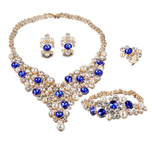 FAUOI African Luxurious Crystal Beads Jewelry Sets Women Bridal Simulated Pearl Gold Plated Statement Necklace Earrings Jewelry Set,4 Pairs ()